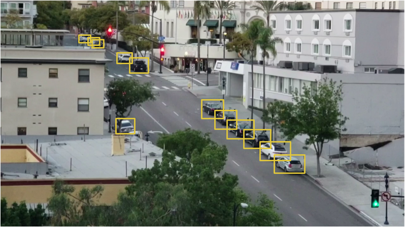 The bounding box of each car here is actually a parking space! We don't need to actually detect parking spaces if we can detect stationary cars.