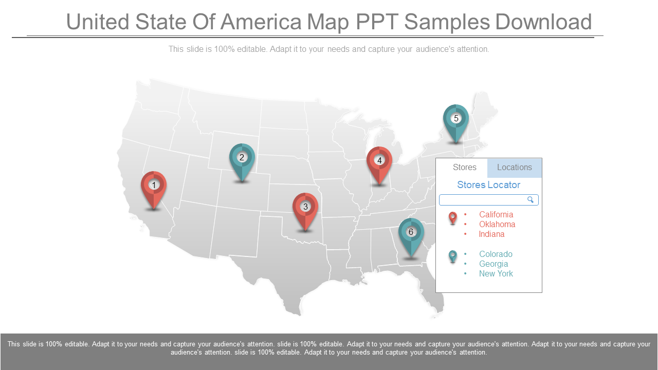 United State Of America Map PPT