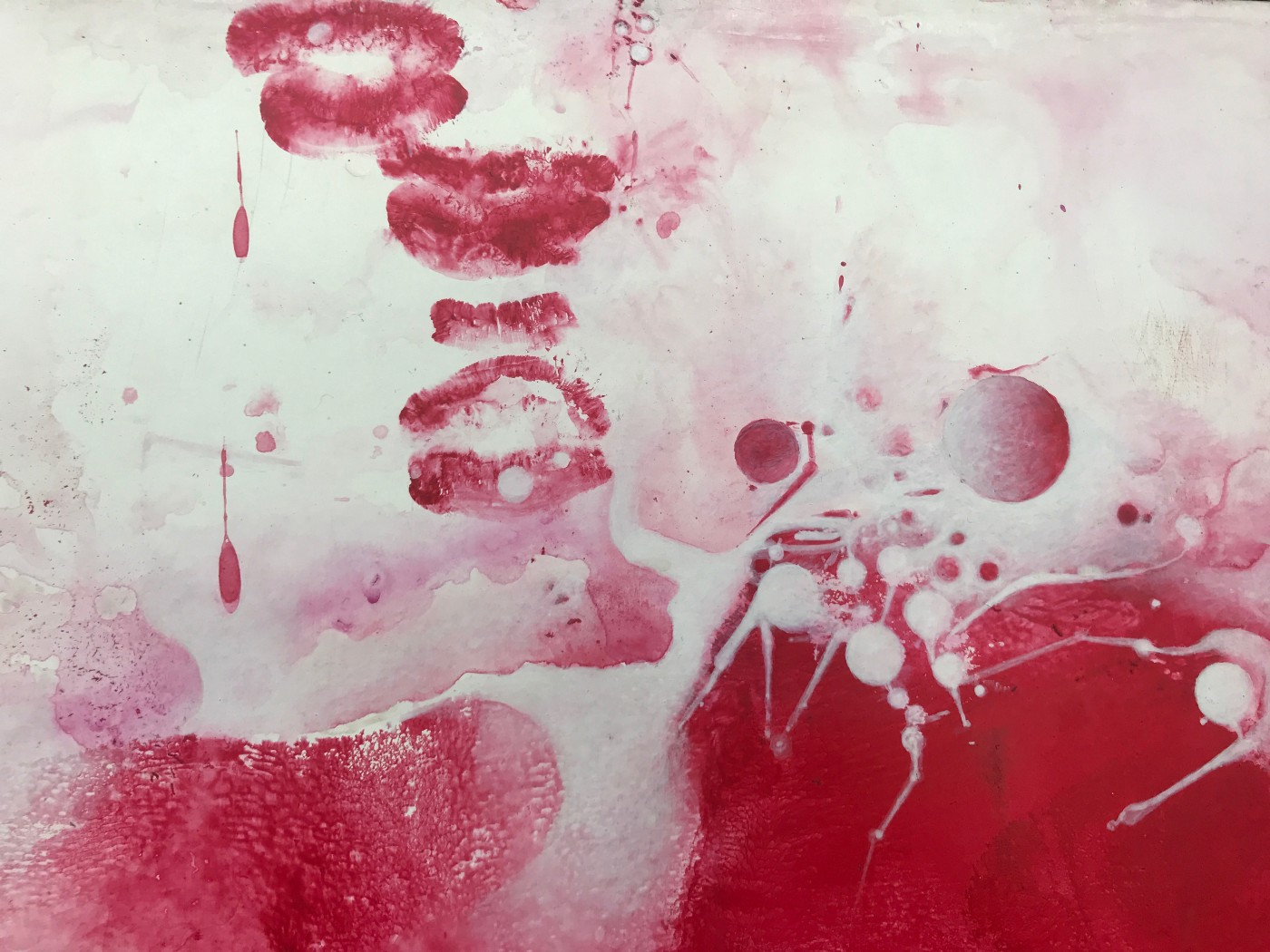 Abstract painting in red and white, inspires sensual thoughts.