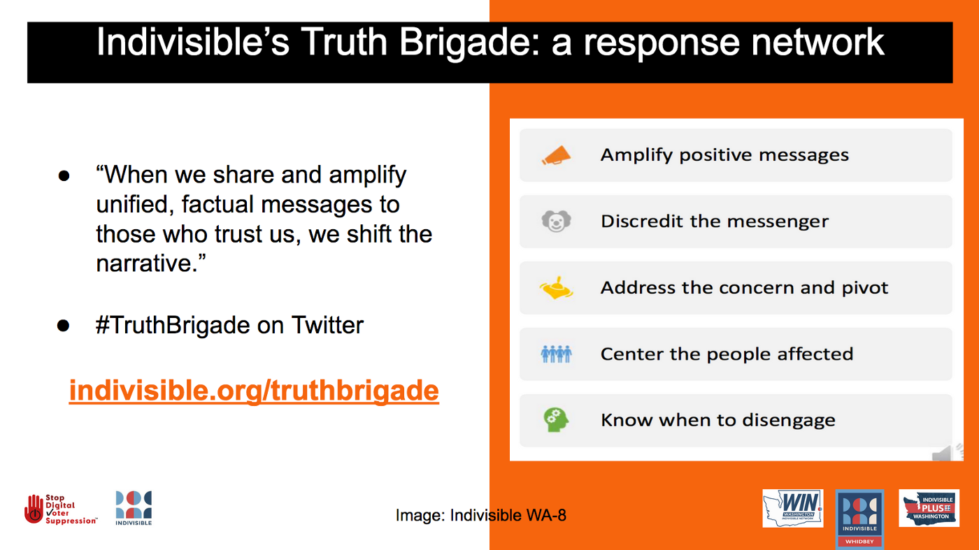 Indivisible's Truth Brigade: a response network. #TruthBrigade on Twitter. Sign up at https://indivisible.org/truthbrigade