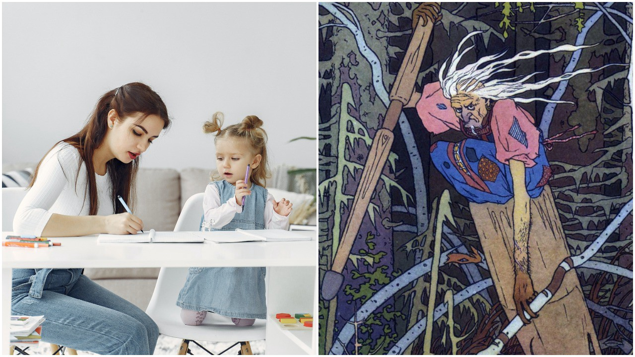 Photo on right is of a young mother helping her young daughter with school work. Image on right is an artist's rendition of Baba Yaga, the Slavic ogress, flying through the woods in a wooden mortar and pestle.