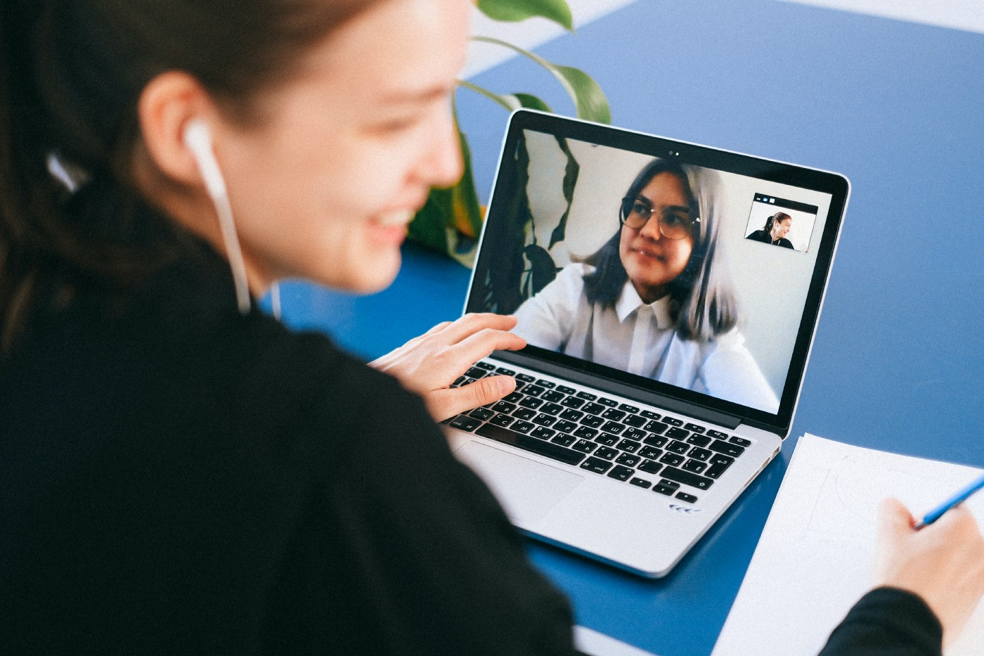 Woman on a video call on her laptop