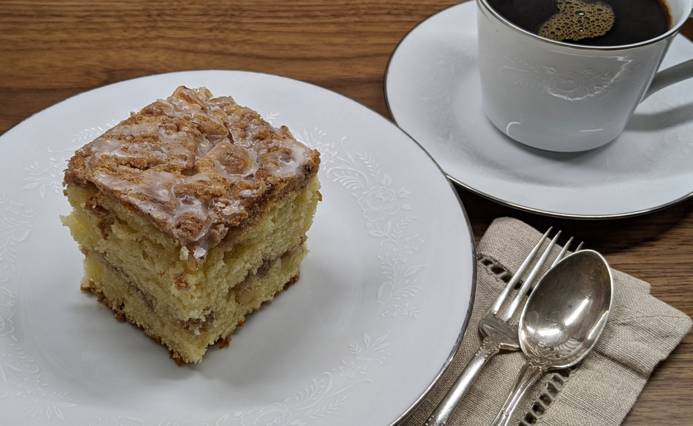 Cinnamon Walnut Coffeecake with coffee