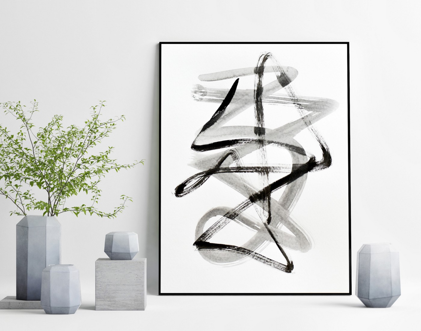 Contemporary black and white abstract painting