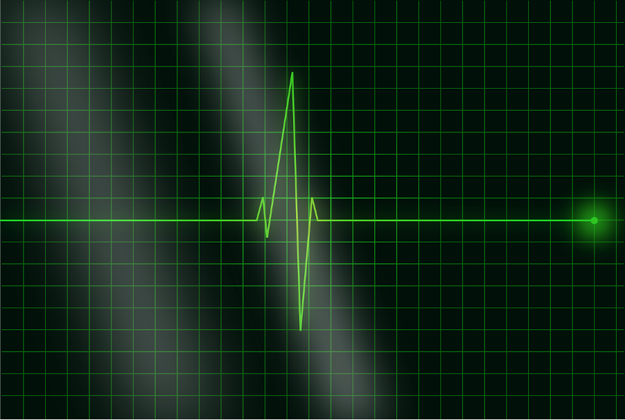 Black screen showing a single heartbeat graph/ECG