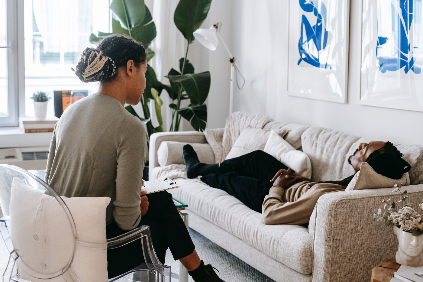 A therapist working with a client.
