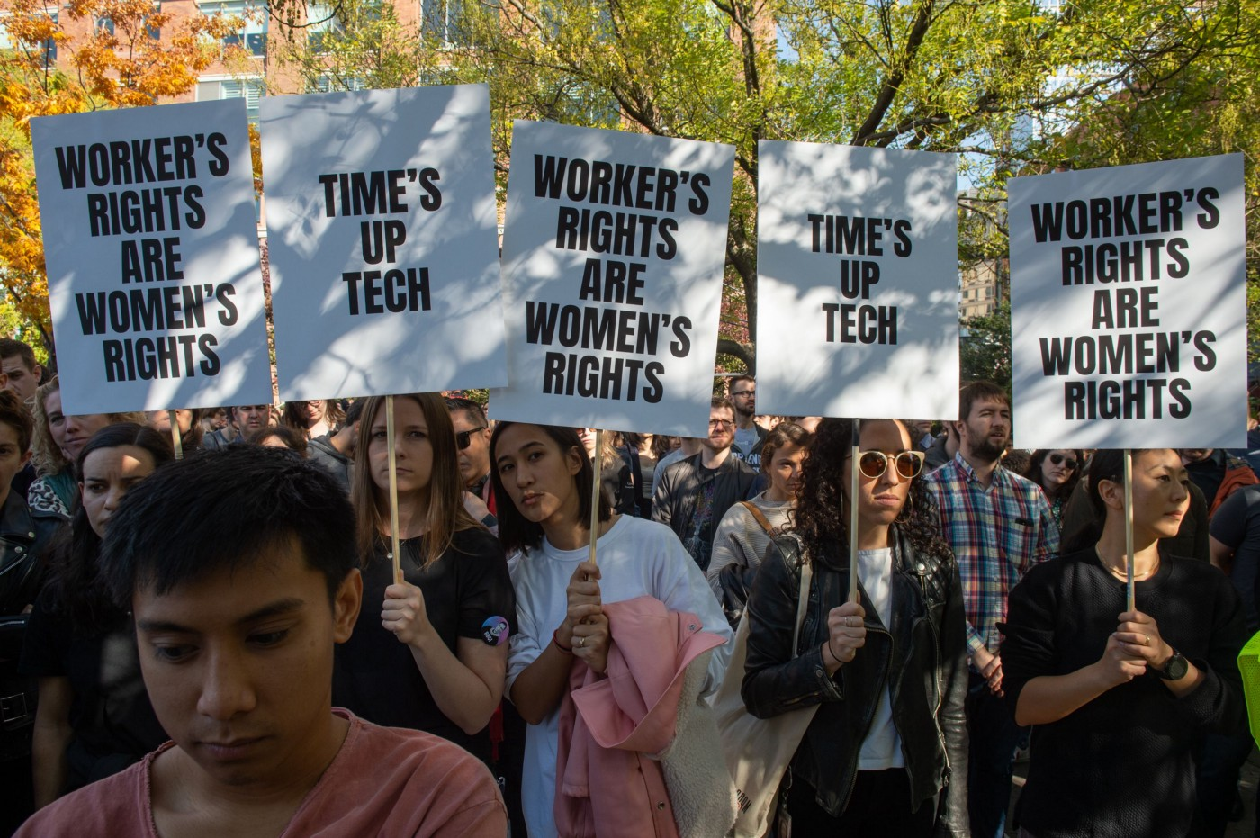 Employees holding protest signs at a global Google walkout on November 1, 2018 in New York.