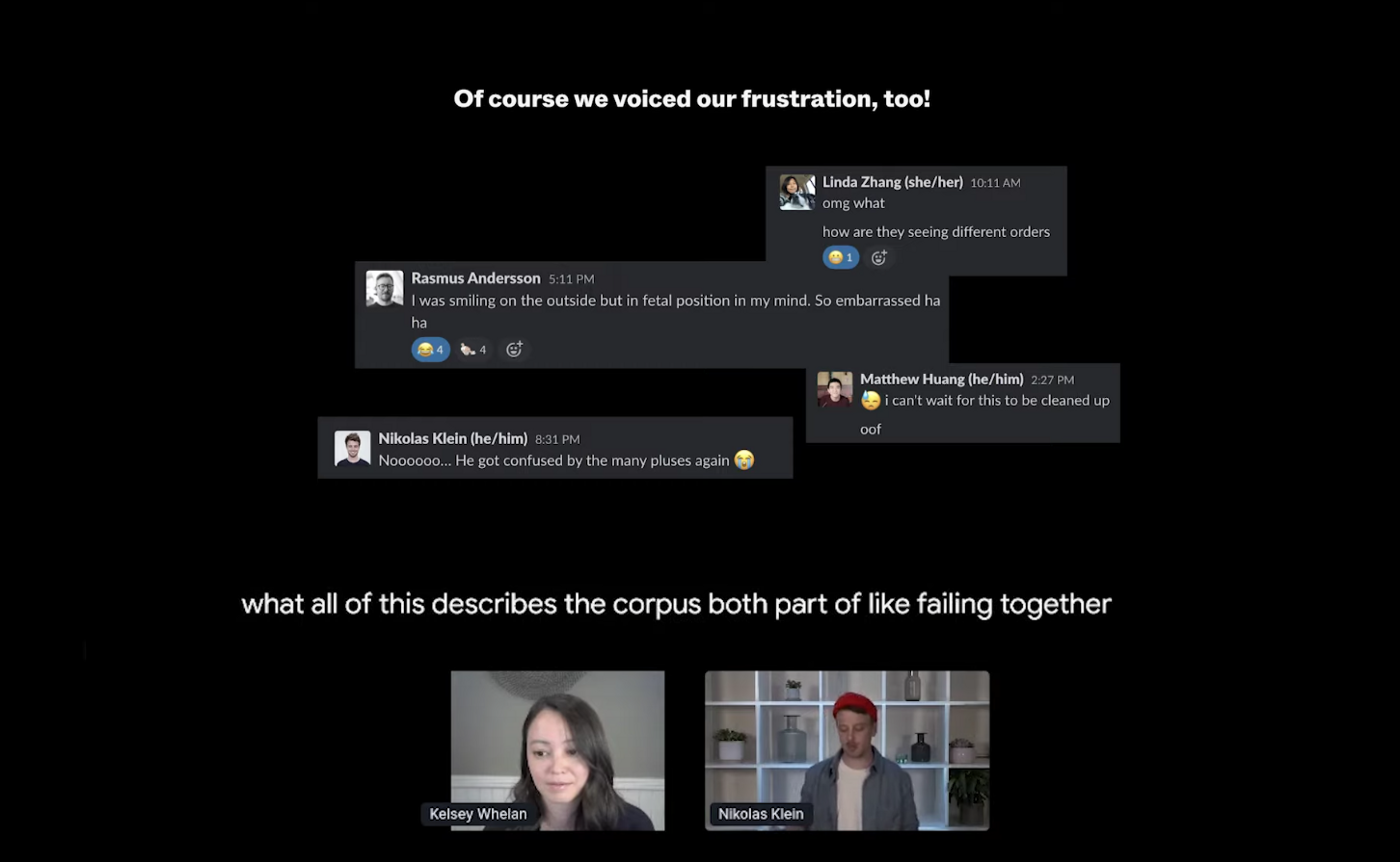 Kelsey and Nikolas share snippets from their user interviews live feedback discussion in Slack
