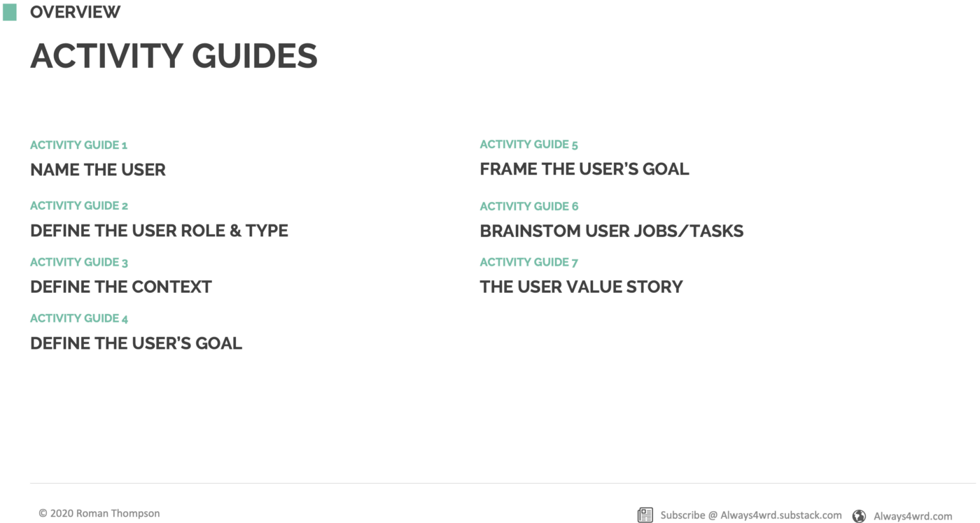 User Value Story—Activity Guide