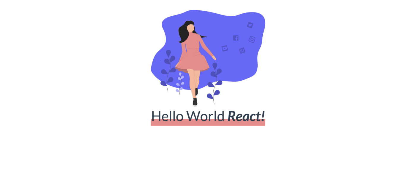 """The basic Hello World App with the default state, """"React"""""""