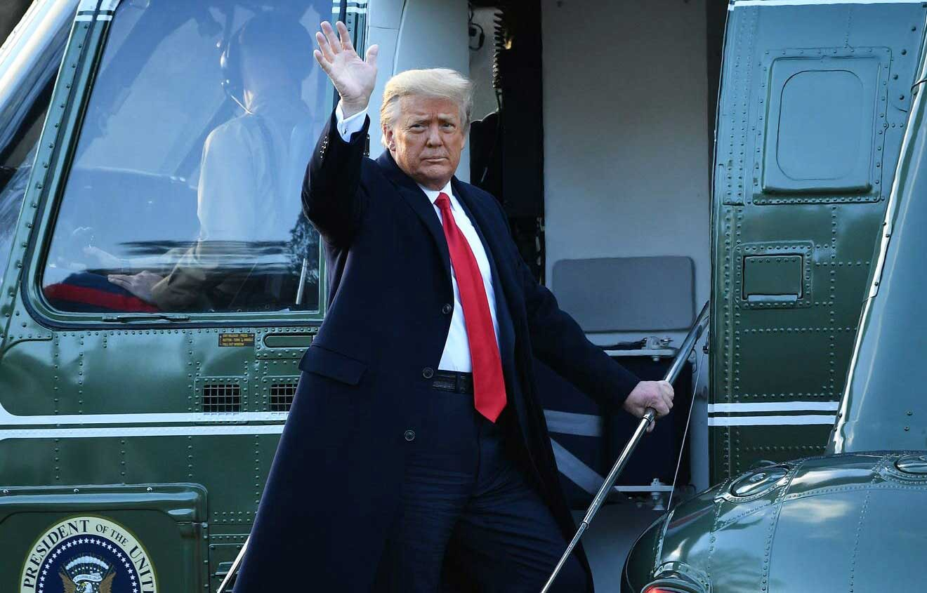 Donald Trump leaves the White House