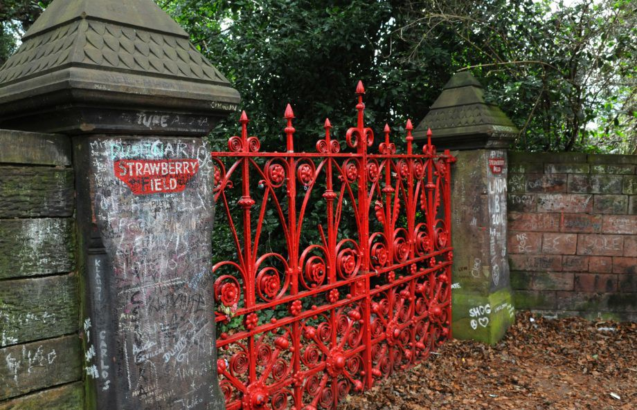 The red gateway to the Strawberry Fields garden in Liverpool, England.