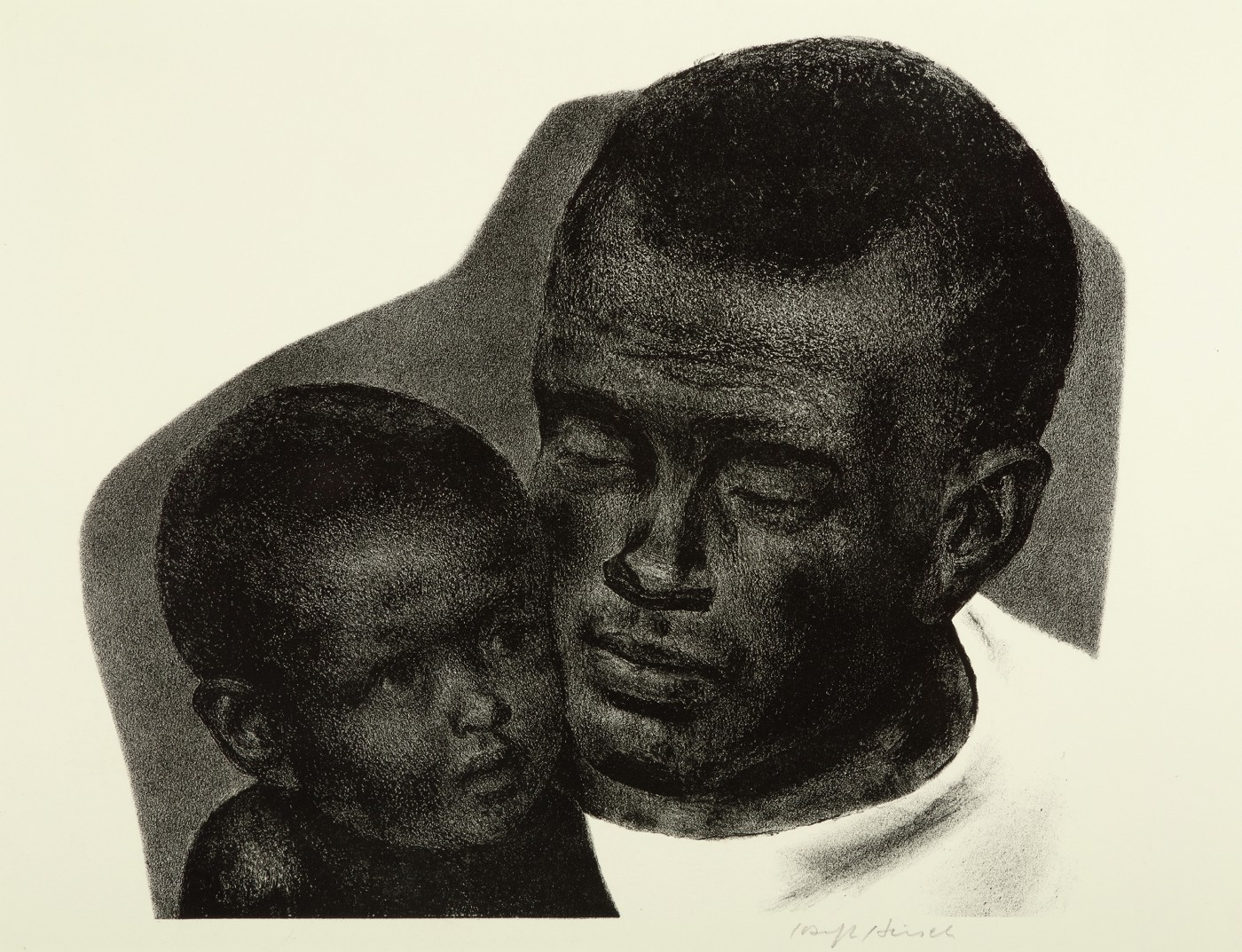 Beautiful dark lithograph of a Black father and soon in a peaceful moment, faces pressed against each other.