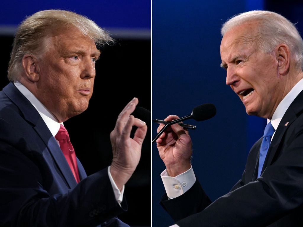 Composite image of Donald Trump and Joe Biden during their last presidential debate.