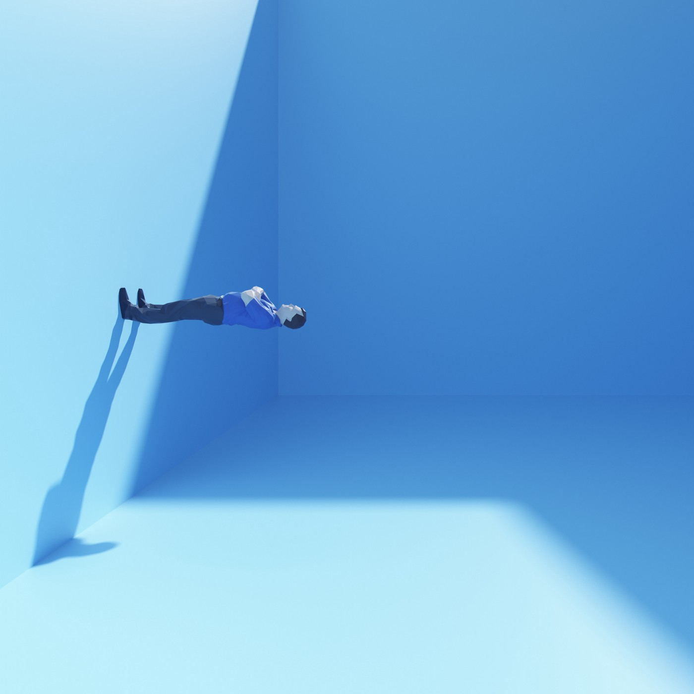 Surreal man standing on the wall of a blue cubic room.