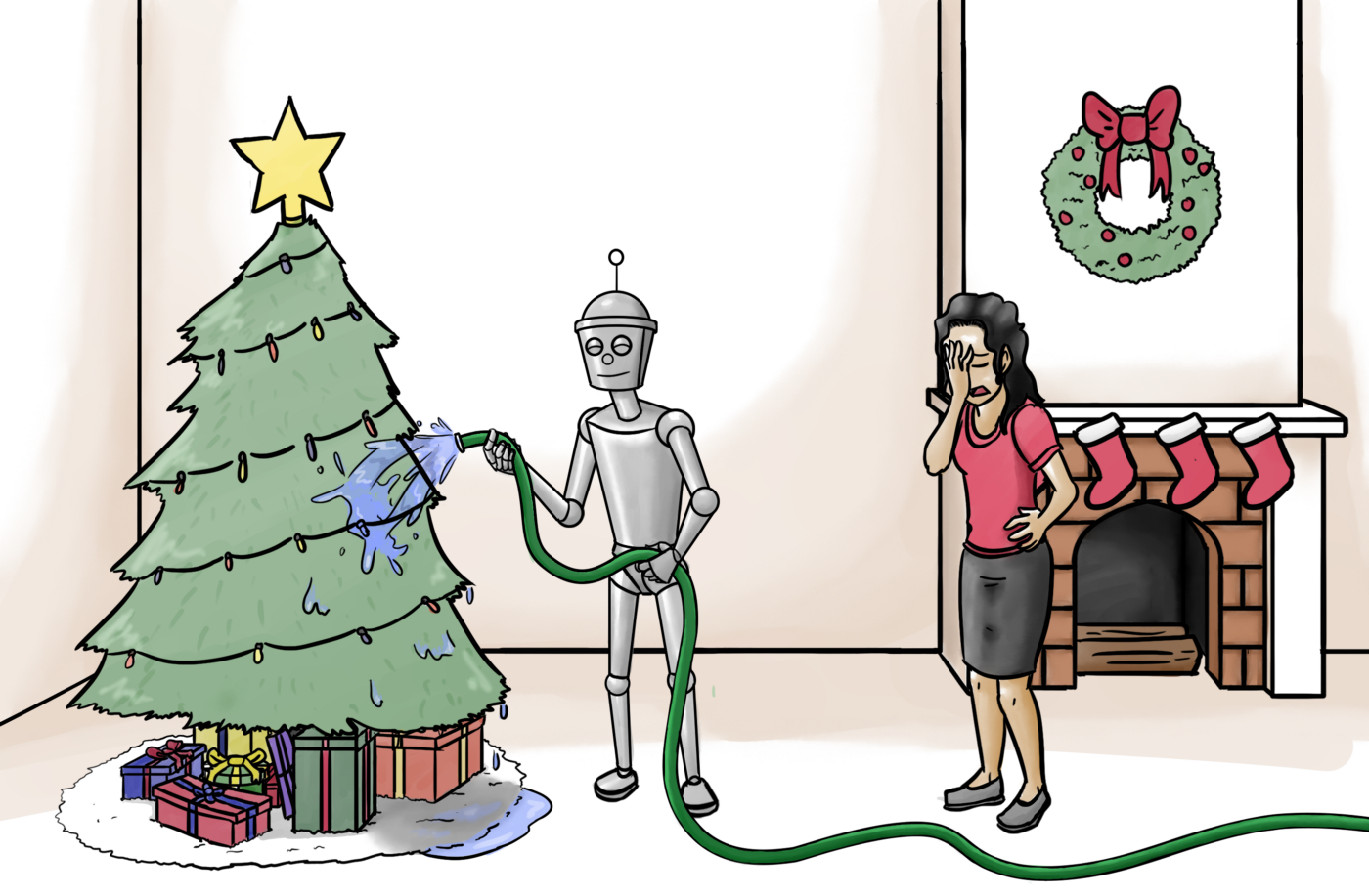 Cartoon of robot watering an indoor Christmas tree with a hose. Owner is upset.