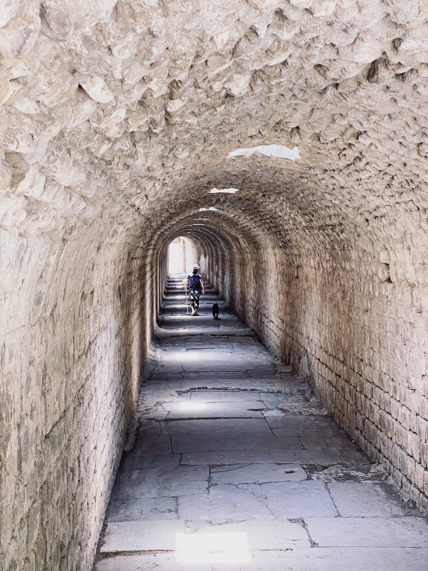 Long stone tunnel of the antique hospital of Asclepieion. Man and his dog walking.