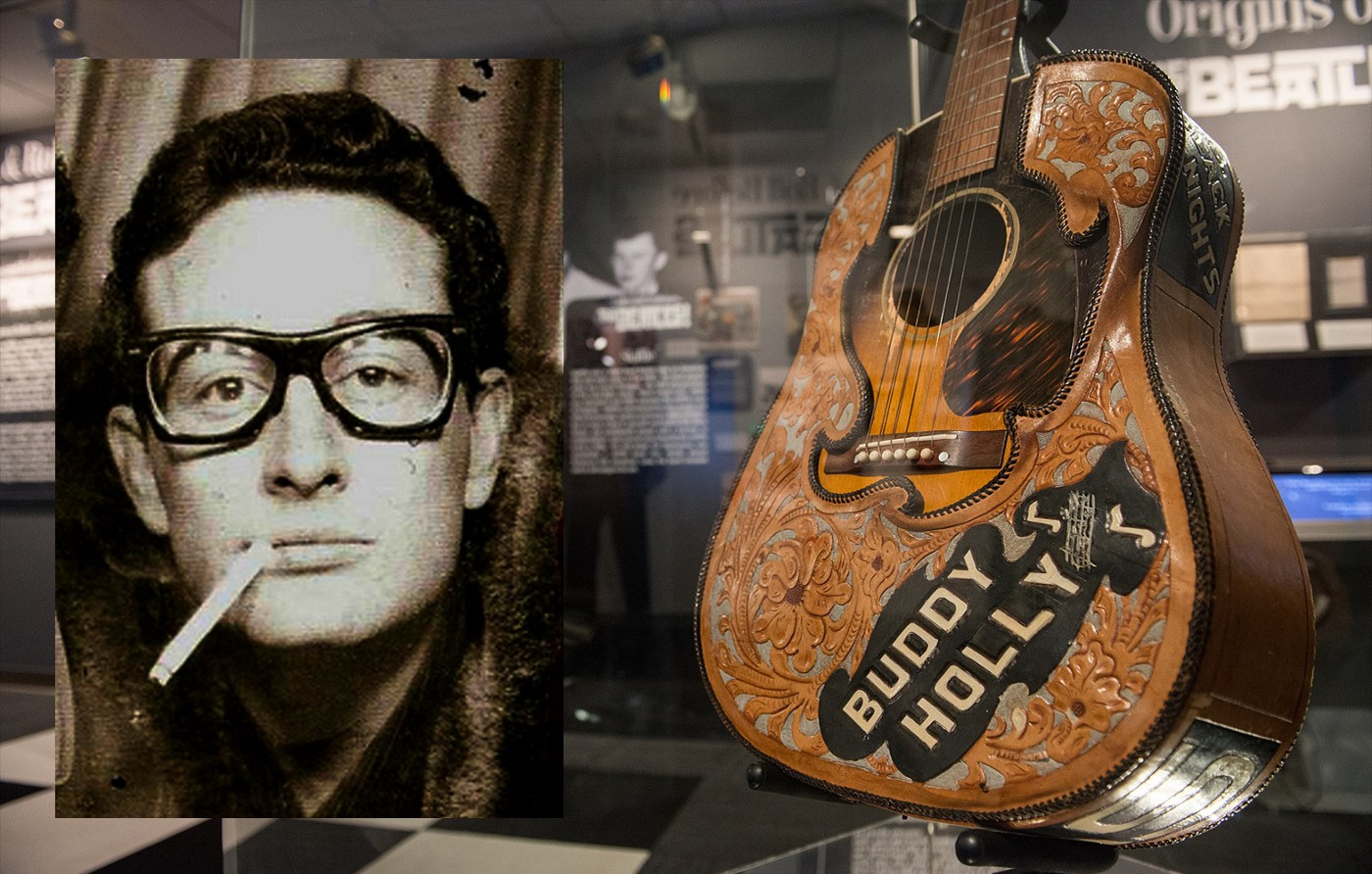 Main image Exhibit of Buddy Holly's acoustic guitar and leather cover at LBJ Presidential Library, Austin, TX 2015. Inset image  Buddy Holly in New York Central Station photo-booth 23 January 1959