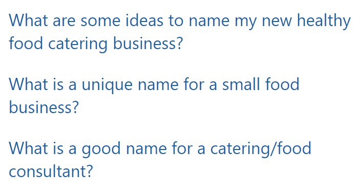 """Typical questions in Quora's """"Business Names"""" category"""