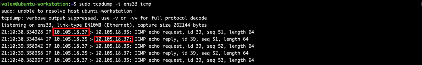 TCP DUMP Output from the Workstation NIC