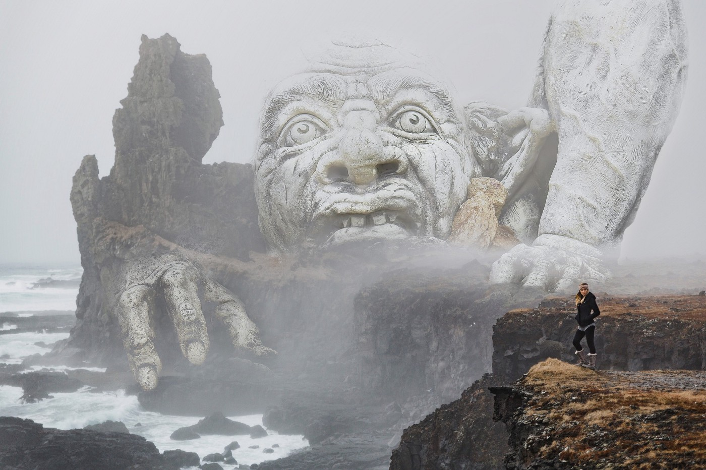 giant troll emerging from the sea