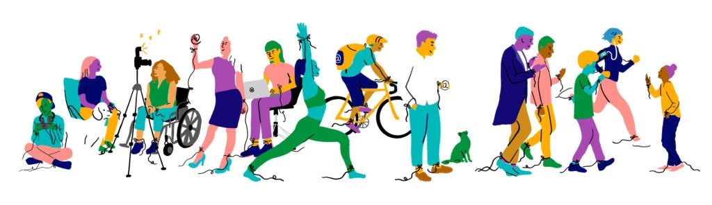 Diverse group of brightly-colored people crowd together, some stretching, taking selfies, biking, etc.