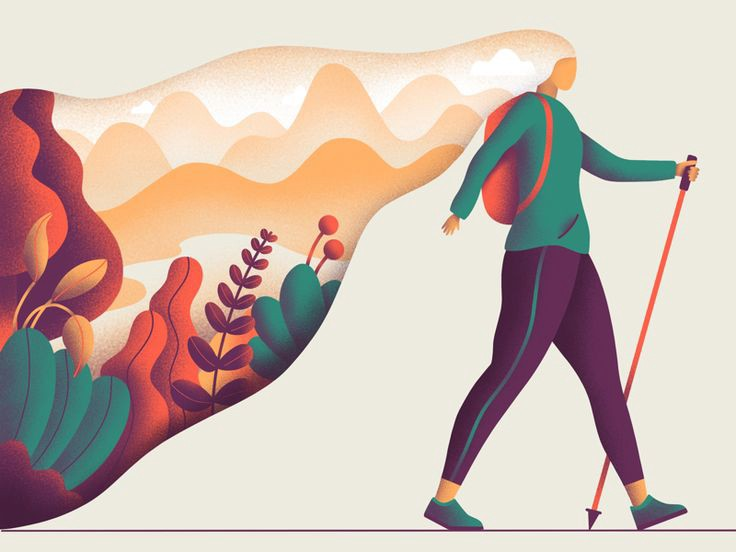 An illustration of a person walking with a stick with nature around them