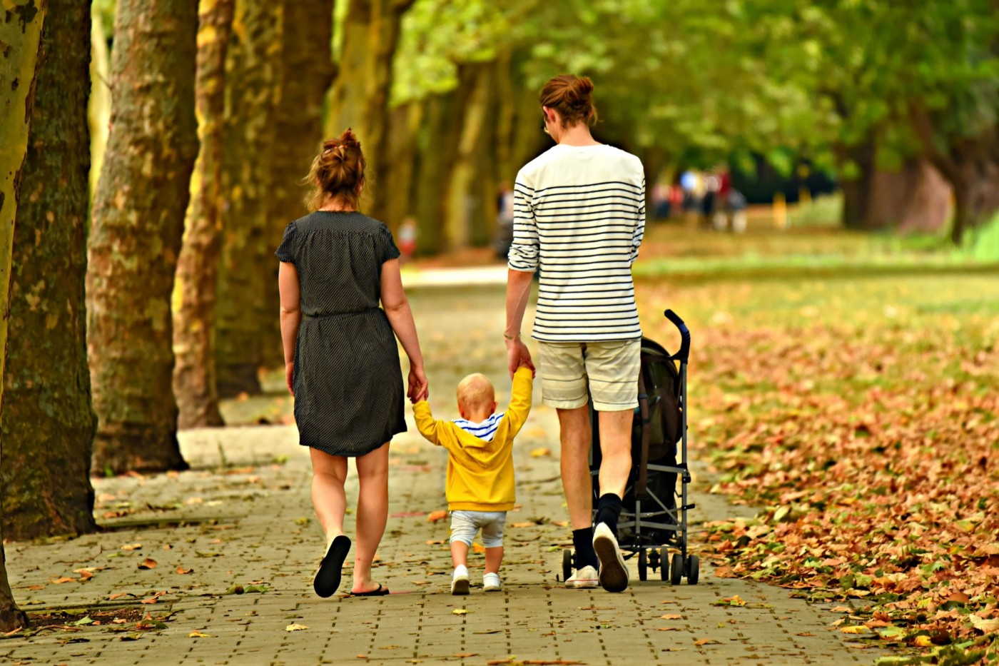 Young woman and man walking in a park in the fall and holding hands with a toddler in a yellow jacket walking between them.