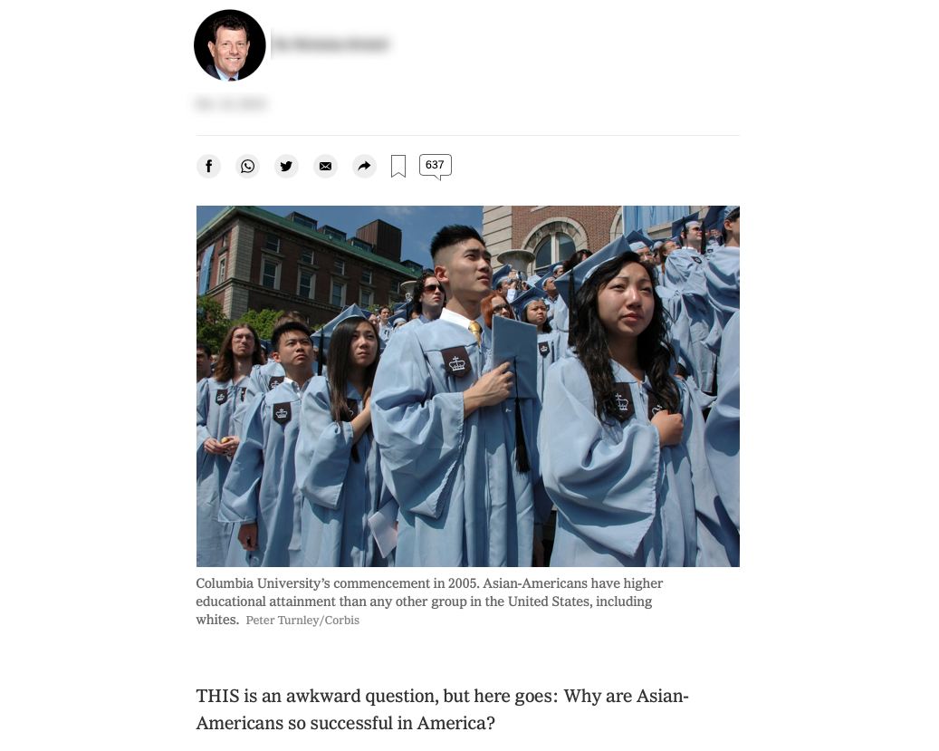 screenshot of an article asking why Asians are so successful