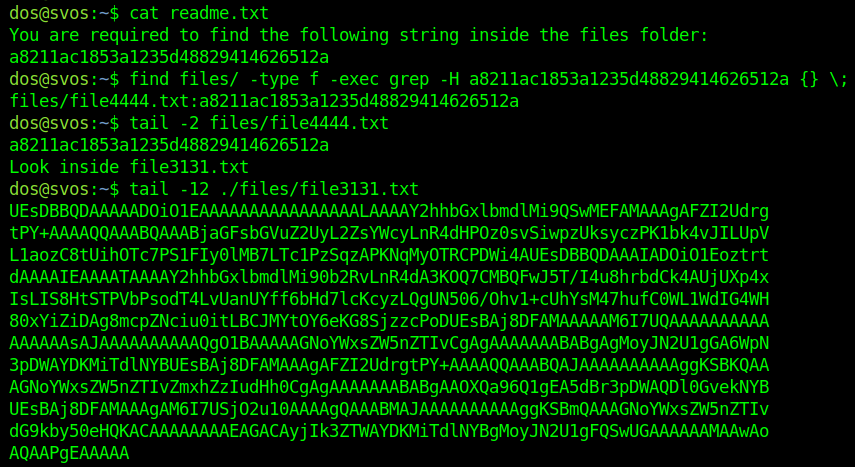 Find among a bunch of files until find a base64 encoded string.