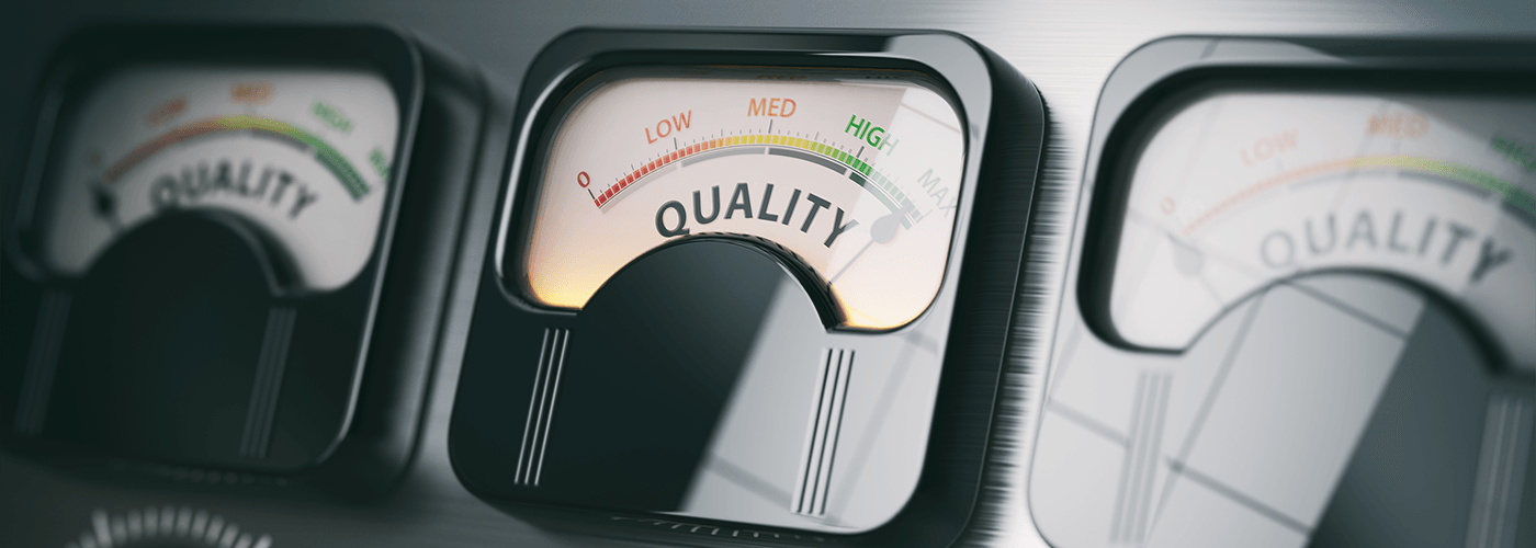 Image of a meter showing quality levels