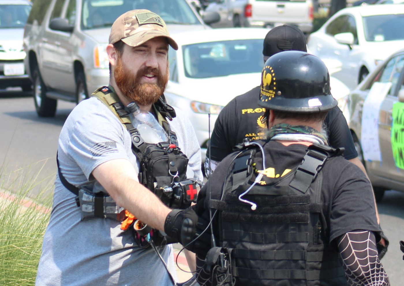 'You know they don't care about you. You're a cuck,' the man with the red beard accused Sabine. Photo by Sabine Alexander