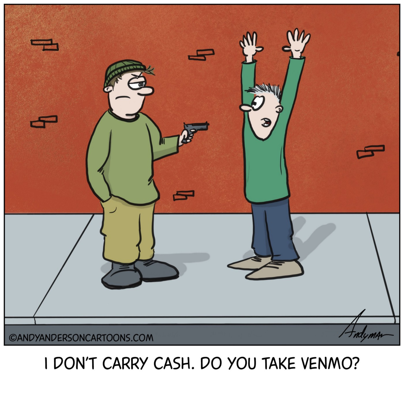 Cartoon about being robbed but offering Venmo instead of cash by Andy Anderson