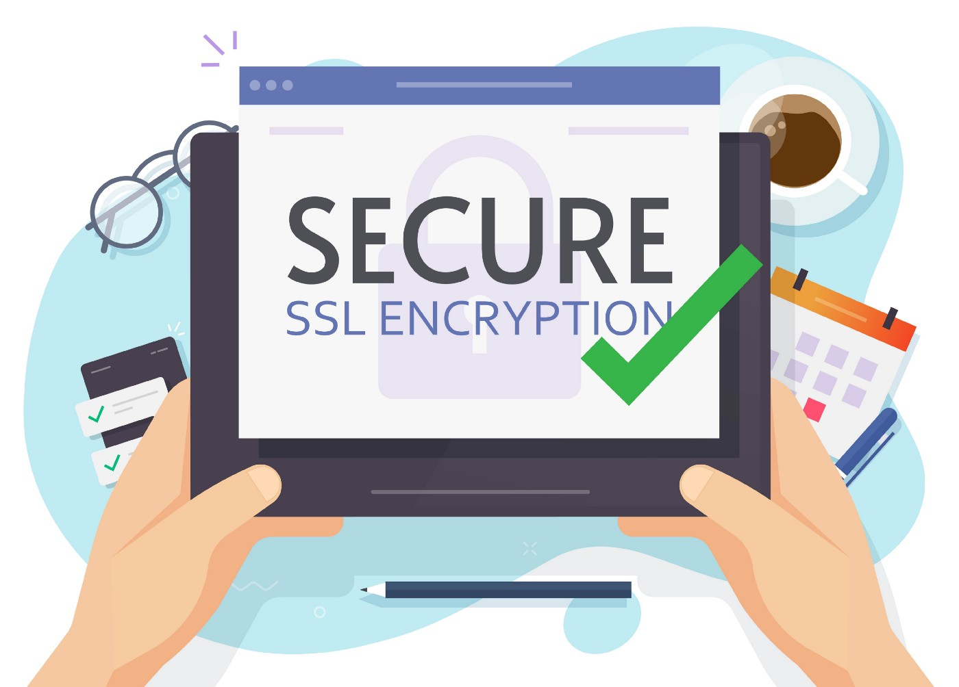 """Hands holding a device whose screen reads """"SECURE SSL ENCRYPTION."""""""