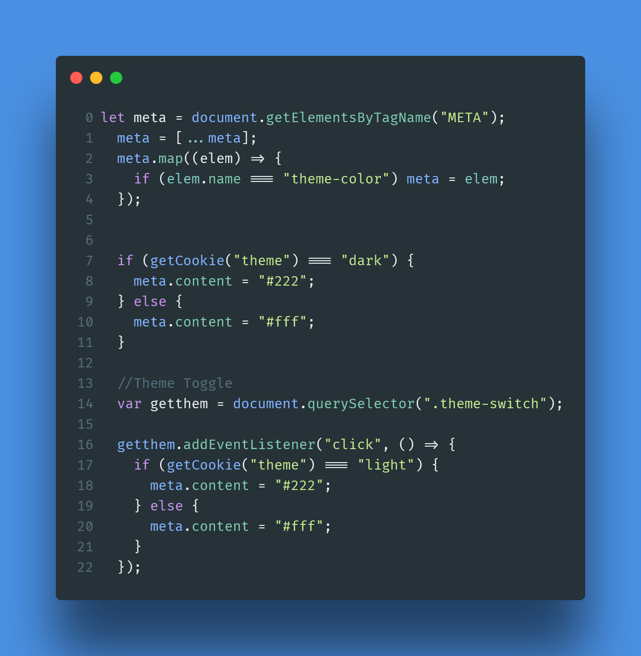 Change your theme color using js