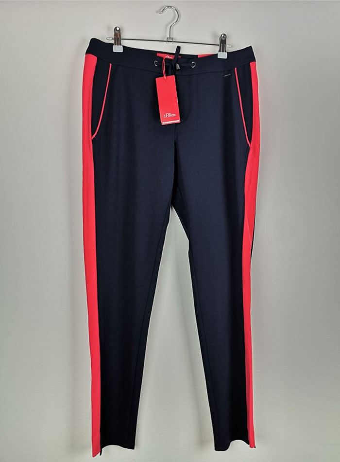 Women Sport Pants blue navy with a red line