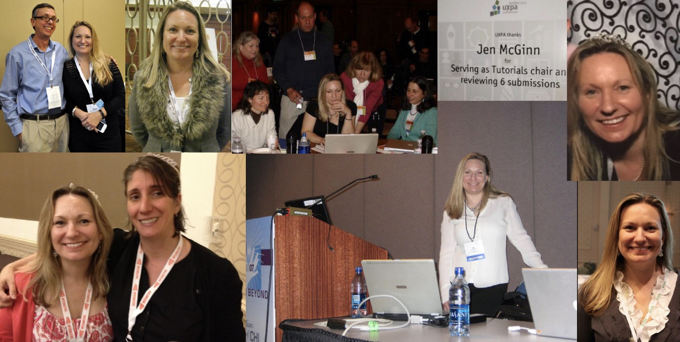 Pictures of the author at UX conferences, with friends and colleagues, as a speaker and as an attendee. Image also include a photo of a certificate for chairing the Tutorials submissions for UXPA International one year.