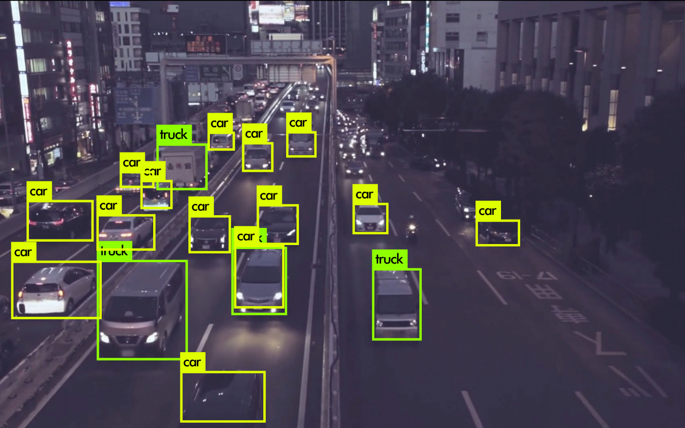 Traffic image with various objects detected using YOLOv3