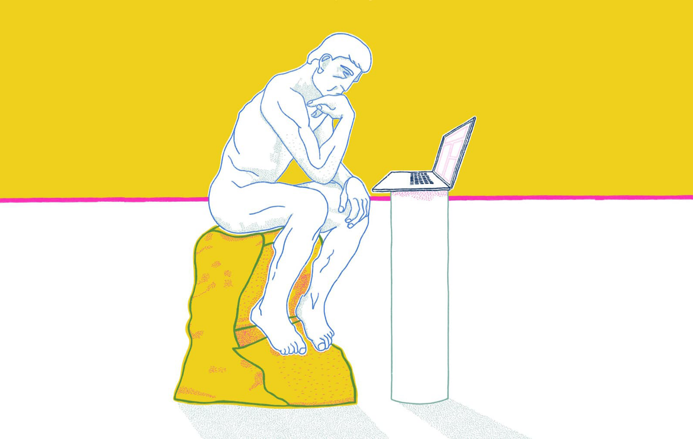 An illustration of Rodin's, The Thinker, with a laptop placed in front of the man.