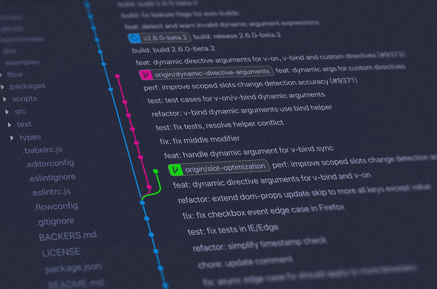 Git commit history as featured image