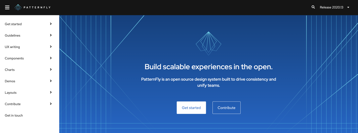 Our redesigned homepage for PatternFly 4, Release 2020.13