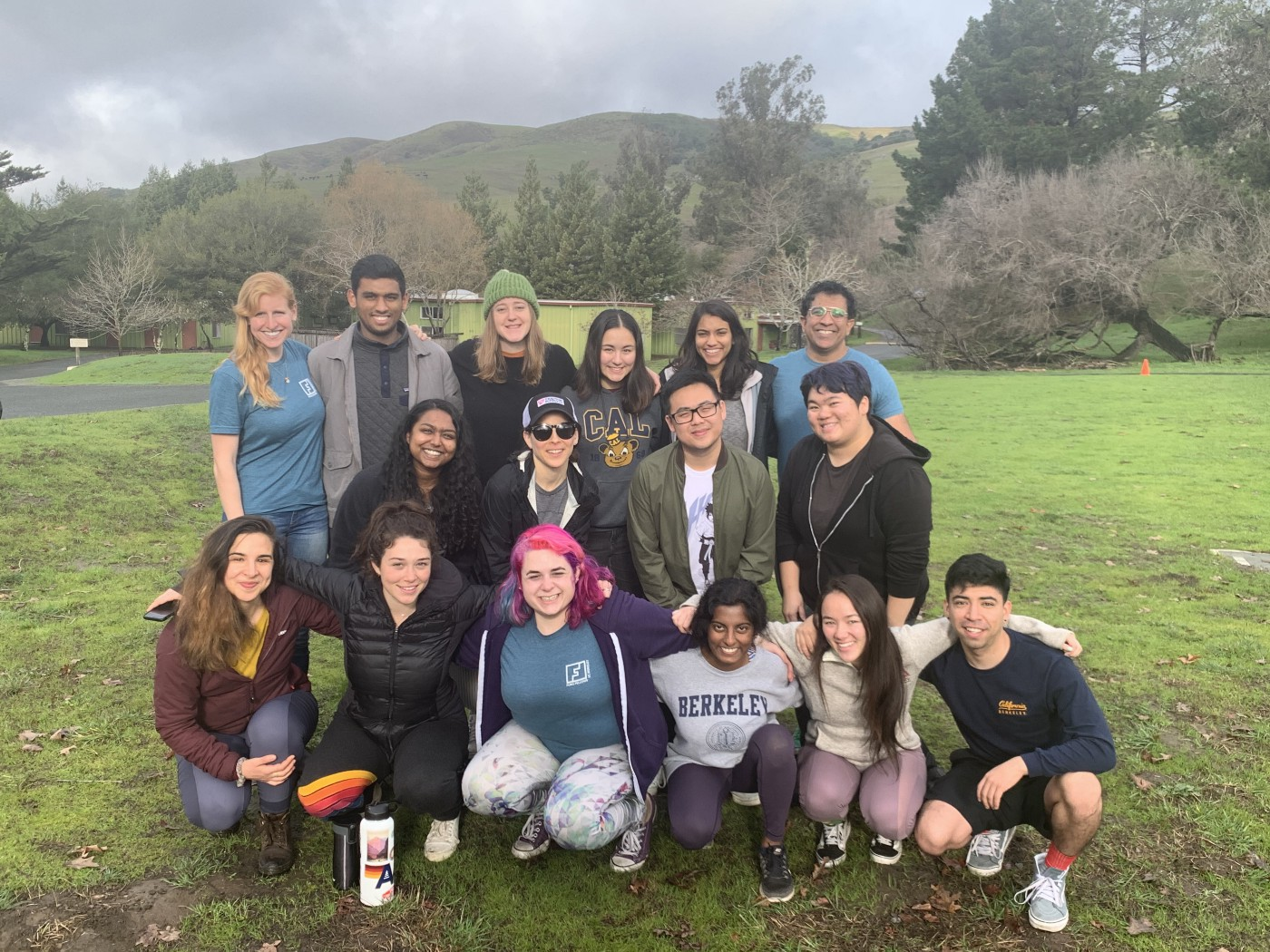 The Honors Fellows, Adrienne, Caroline, and Jaspal pose together during their retreat.