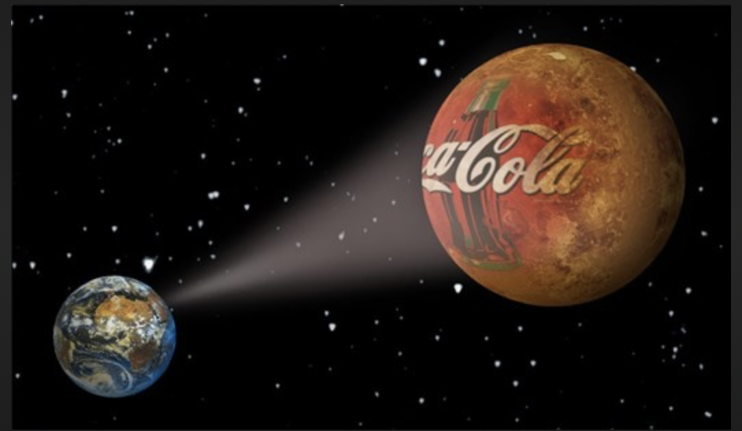 Coca-Cola space ad sending light to Earth