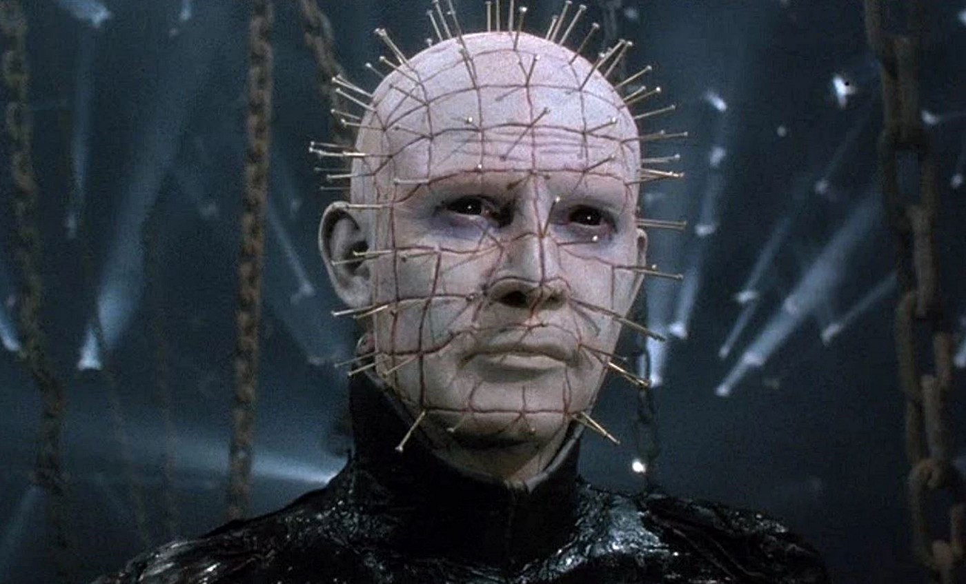 "Pinhead, a demon with a grid drawn on his head and long pins sticking out of his skin, from the movie ""Hellraiser."""