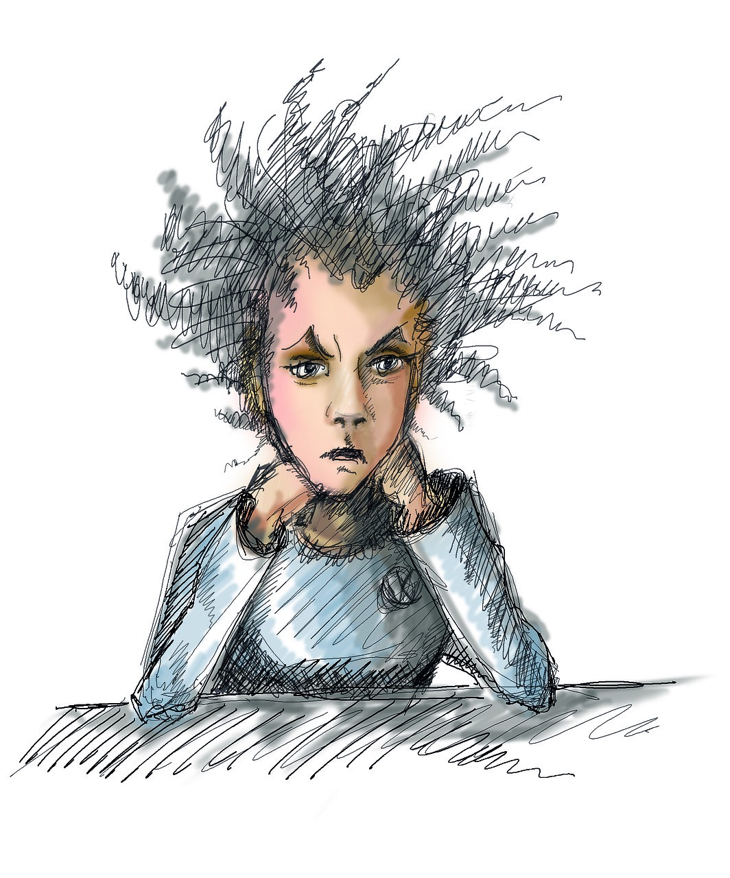 frustrated woman with hair sticking out