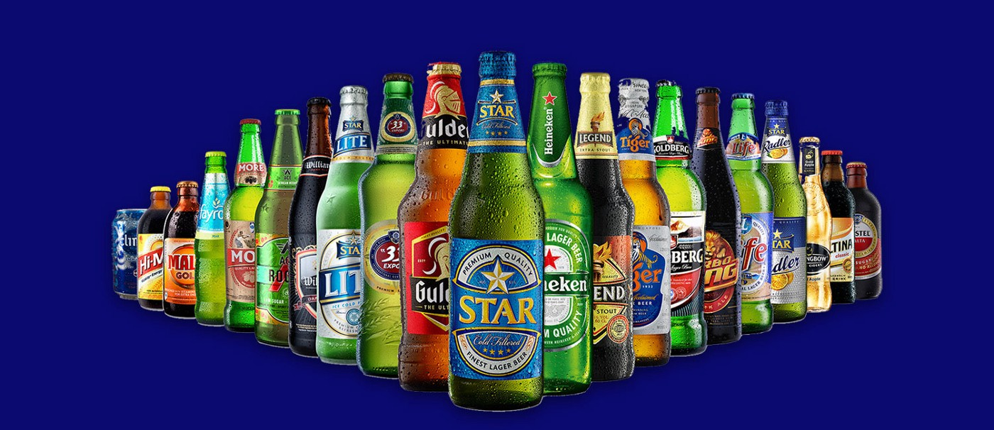 A photo of products of the Nigerian Breweries