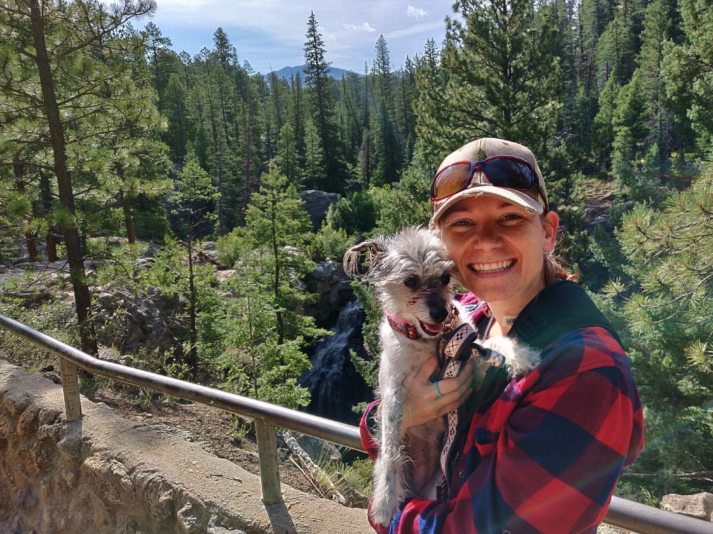 My dog Latty and I at Jemez Falls, New Mexico 2019.
