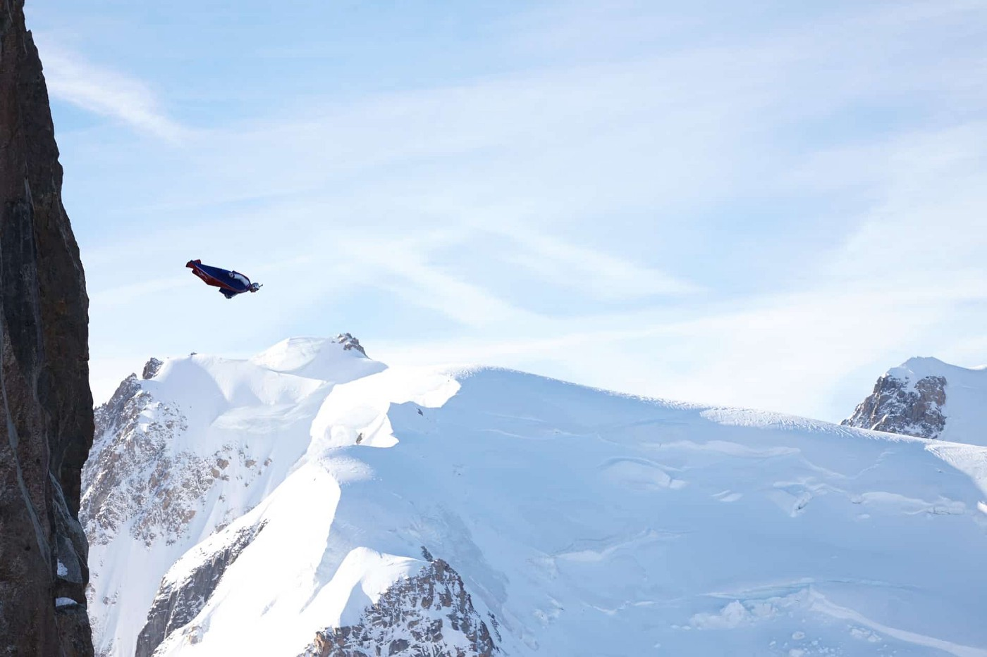 A professional wingsuit pilot just after base-jumping