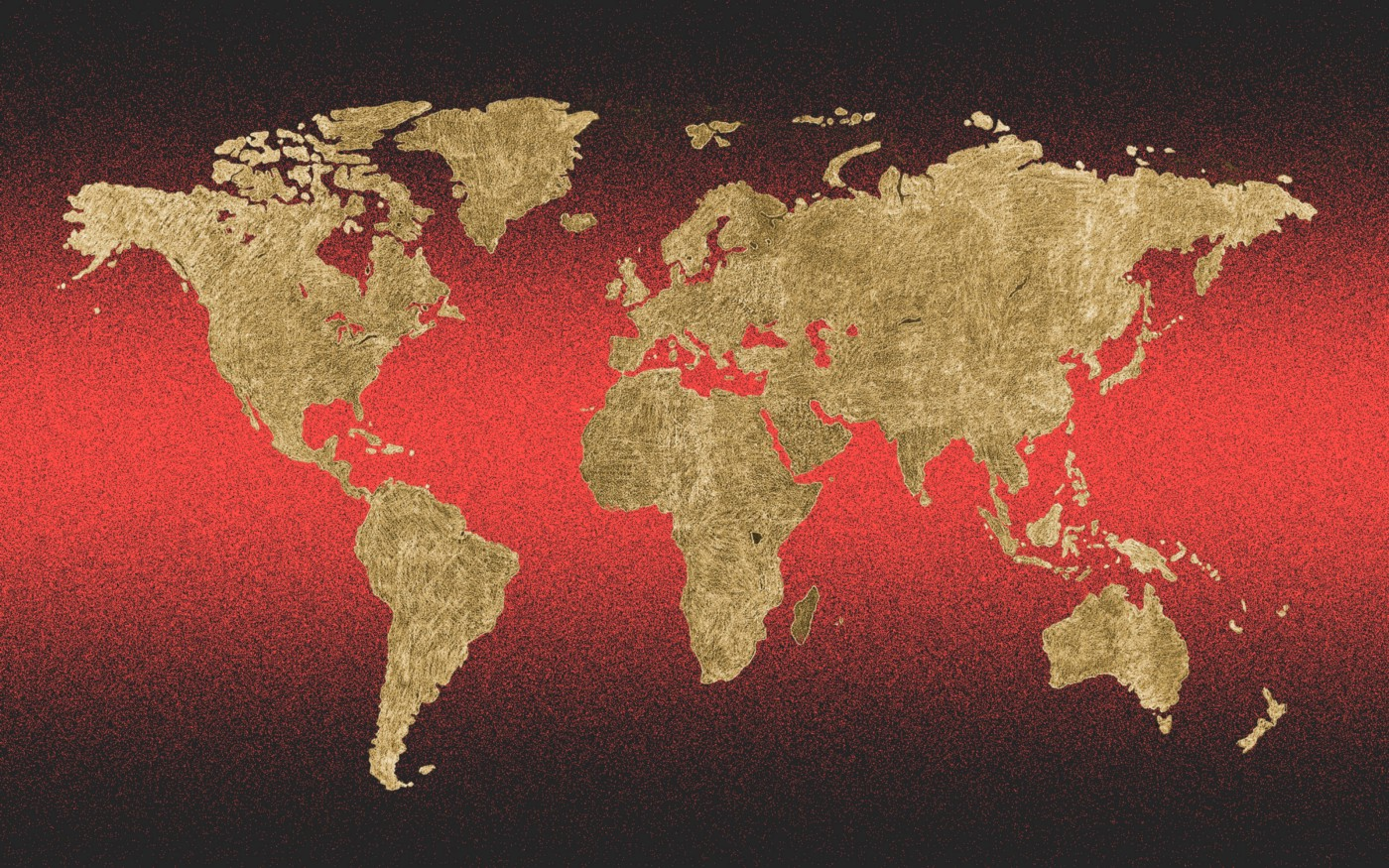 Photo treatment of a world map against a red and black background.