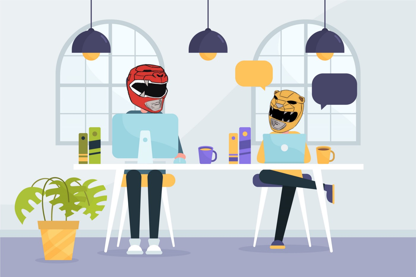 Two people sitting in an office while wearing Power Rangers helmets.